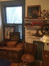 upstairs front room- type chest, patriotic pictures, file cabinets