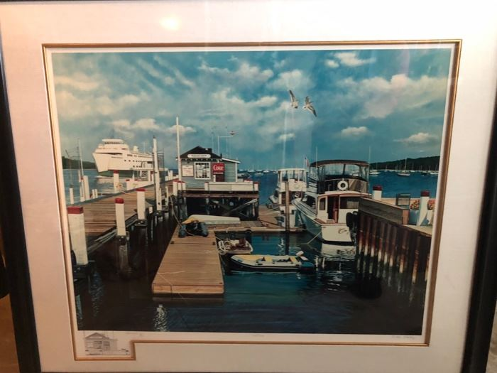Ken Keeley litho #68/100 Bayles Dock Port Jefferson