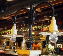 """Industrial Double Arched Metal Lamp Post With Crimped Shades, 40"""" x 64"""""""