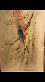 Charles Reinike, American, 1906 - 1983,  original mixed media on paper, custom framed, Blue Jay on a Branch