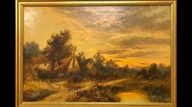 The second of an impressive pair of large antique oil on canvas paintings of the Scottish Highlands, painted by Montgomery Ansell, British, 19th century artist