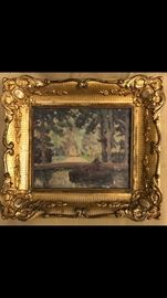 "William Posey Silva,  American, 1859-1948, oil on board, ""Old Fountain at Versailles"", 1922.  Noted on verso, ""original sketch made on the spot"".  Housed in the original antique gold leafed finished corner French frame.  Silva's works mainly depict scenes of his beloved Carmel California.  This subject, painted in France, is representative of his time spent in Paris studying art, at the beginning of his career, at the young age of fifty. His works are highly collected.  Comparables of other works sold by Silva are available."