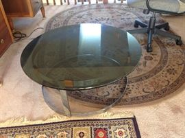 Glass top coffee table 32 inches round