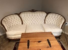 Made by chateau chambord, this was their VERSAILLES COLLECTION BASED ON LOUIS XV designs. This was a high end furniture company with all of the wood hand carved in Italy and then upholstered in white silk damask in Indiana. Their pieces are hard to find and this set is on overall remarkable condition with the original silk damask in very nice condition