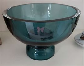 Marquis by Waterford Blue Crystal footed Pedestal Bowl