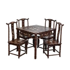 LOT873 MOTHER OF PEARL CHAIR SET