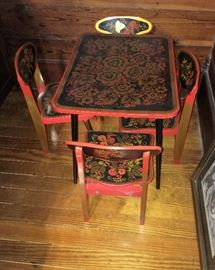 ANTIQUE RUSSIAN ORNATE CHILD'S TABLE AND CHAIRS