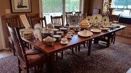 Gorgeous Solid Oak Arts & Crafts, Mission style 12' dining set with 10 chairs.  Beautiful China & Dinnerware.