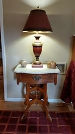 "Lexington ""Victorian"" marble top side table/night stand."