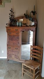 "Beautiful large, mirrored ""side by side"" cabinet/secretary."