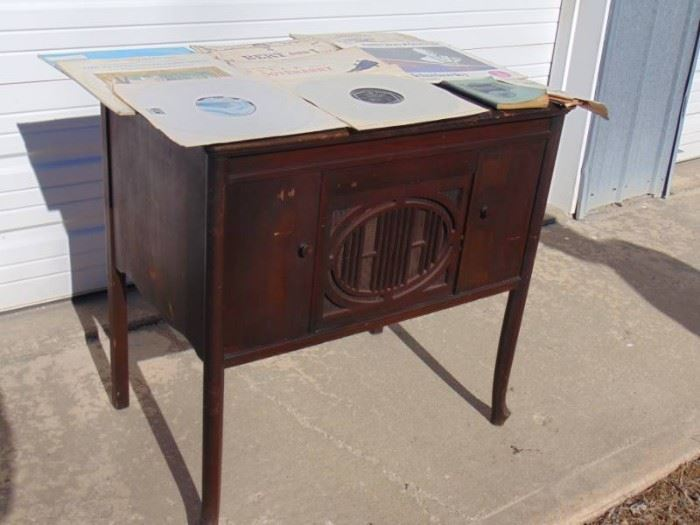 Antique Hand turn Record player