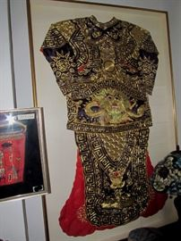 Antique Chinese Dragon Robe Silk Embroidery