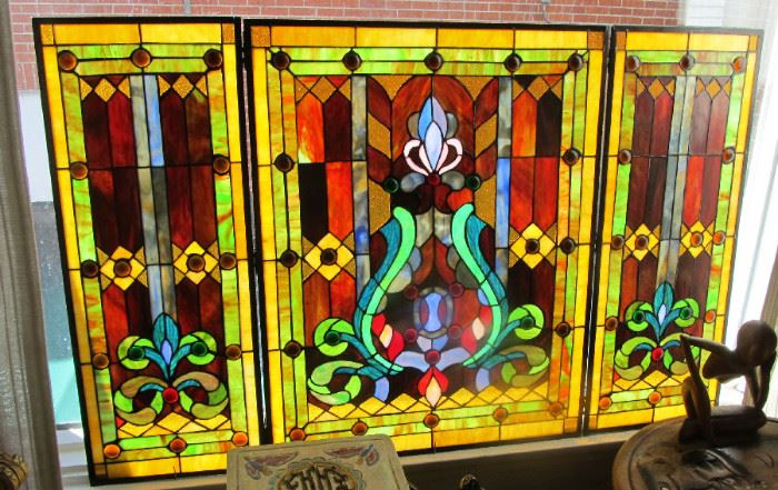 vtg 3 panel stained glass