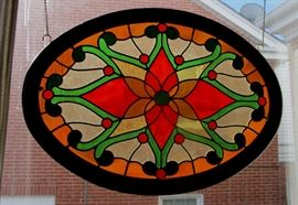 antique oval stained glass
