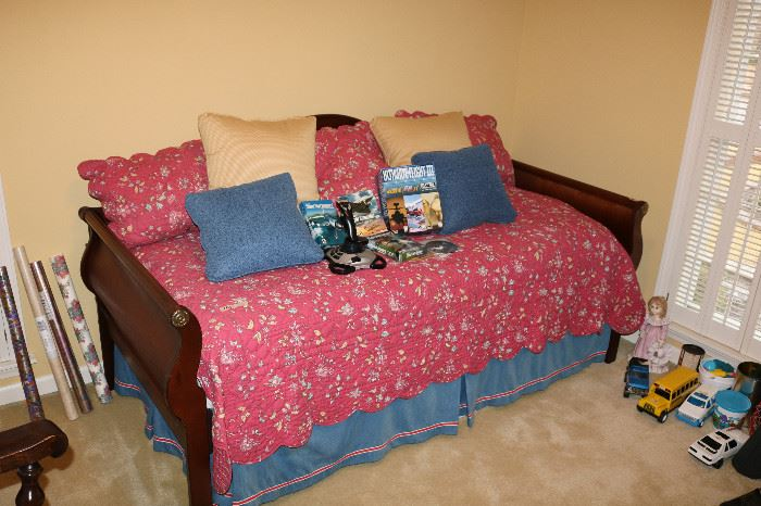 Nice day bed, Ethan Allen and another twin mattress under bed