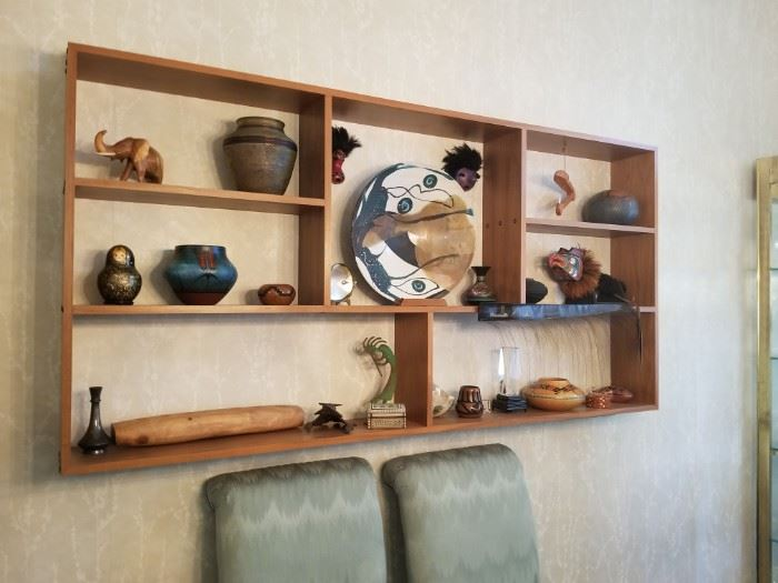 Alaskan art, carved Baleen with Scrimshaw, Banff bowl, the shelving unit on the wall is also for sale.