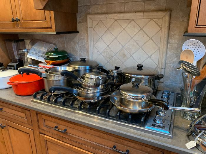 Tons of high end cookware.  Le Crueset, Kitchen Aid, Mixers, Cuisinarts, Blenders, Coffee Pots