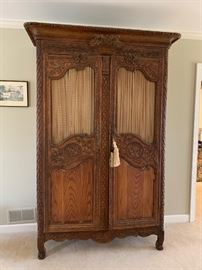 Two-of-a-kind custom made French oak wedding armoire from early to mid 1800s.   (It's match is found at the Biltmore!)