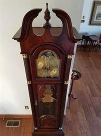 """Crotch Mahogany Grandfather Clock """"Like New"""" https://ctbids.com/#!/description/share/85433"""