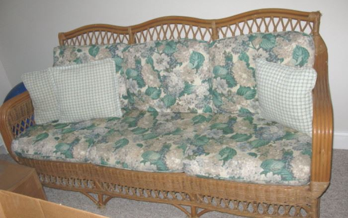 Bamboo and Wicker Sofa