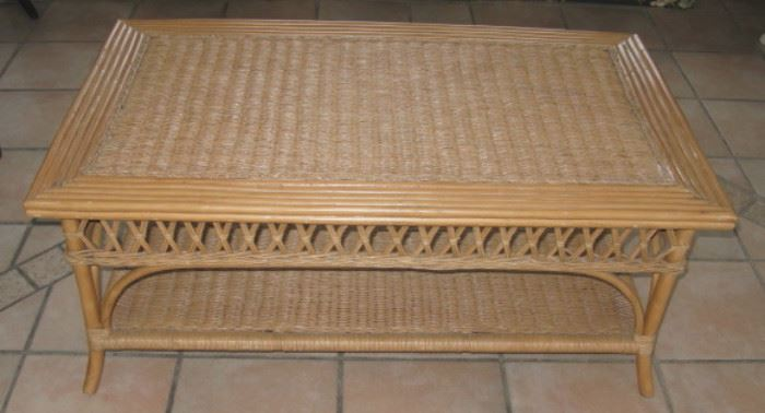 Bamboo and Wicker Coffee Table