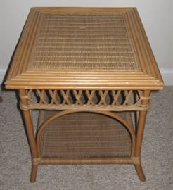 Bamboo and Wicker Lamp Table