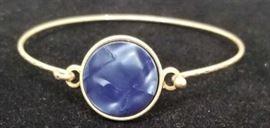Crave Blue Resin Disk Goldtone Bracelet