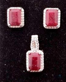 4 1/4 Carat Ruby & Diamond Jewelry Set