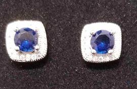 1 1/5 Carat Blue Sapphire & 1/2 Carat Diamond Earrings