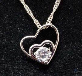 18K Gold, White Cubic Zirconia Necklace