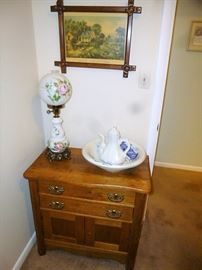 Room full of quality antique Oak Furniture. Wash bowl set , Hurricane style lamp.