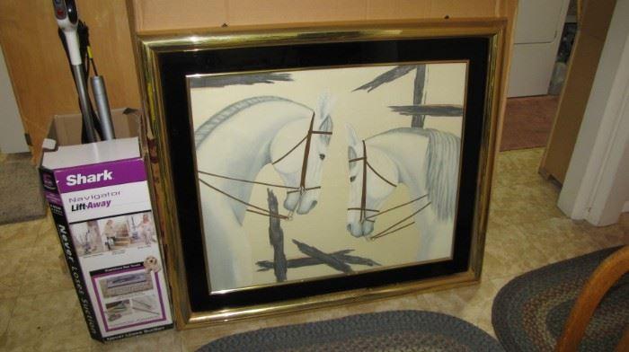 Very nice artwork - custom framed - HEAVY - glass front.