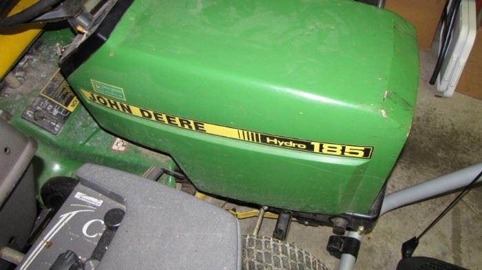 Older John Deer Hydro shift - 185 - needs TLC. Runs, bad tire - broken headlight.