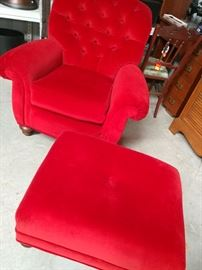 Red Velvet Chair and Ottoma