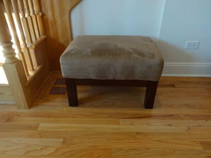 """Suede-like upholstered ottoman. 2' 3"""" long x 1'9"""" wide x 1'4"""" tall. Good condition"""