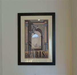 Framed neutral tone poster of Paris Arc du Triomphe, glass, black frame.  SOLD.