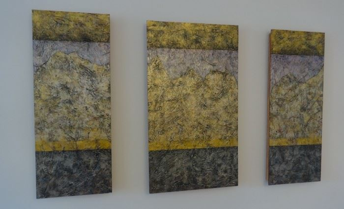 """Original oil painting """"Time and Movement- Etched in Stone"""" triptych framed by the prolific Wisconsin artist, Mark Pflughoeft, 2006. $1,200. Colors are golds, charcoal, purple, silver. Excellent cond. Signed."""