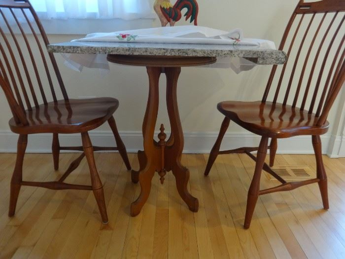"""Vintage maple wood table base measures 2'5"""" tall x 1'3"""" in diameter, very sturdy.  Available with or without the granite top sold separately. Not attached.  Also, wooden rooster folkworks style. 2 very high quality cherry chairs from Shaker Traditions, Evanston."""