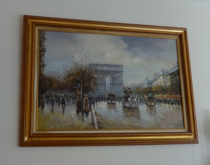 Oil painting of Paris - Arc du Triomphe. Very good cond. No glass.