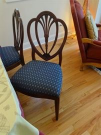 """Vintage dining room chairs, set of 4, one has a missing wood piece. Size:  1'8"""" wide x 1'7"""" deep x 1'7"""" high at the seat. Upholstery is in good shape."""
