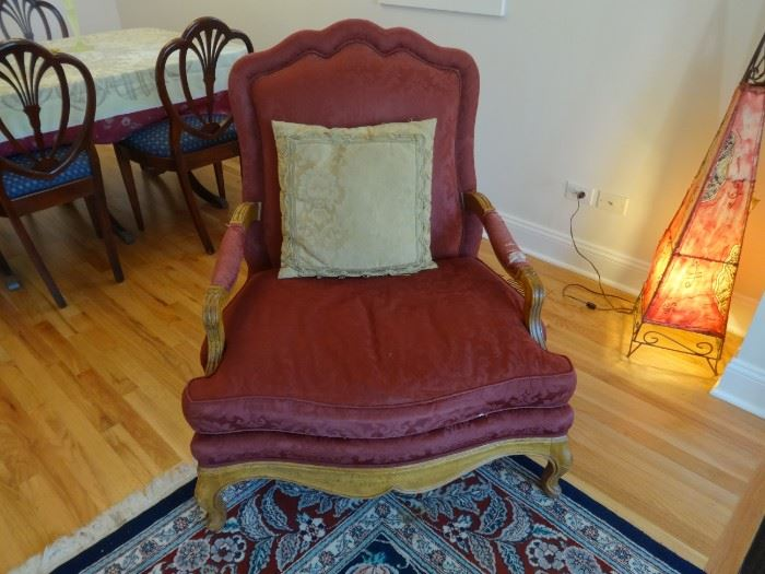 """Baker Furniture Co. Upholstered wing chair. Extremely comfortable. Needs to be re-upholstered.  Size is 3'4"""" tall at the back x 3' wide x 2'5"""" deep. Purchased from Marshall Field's back in the day."""