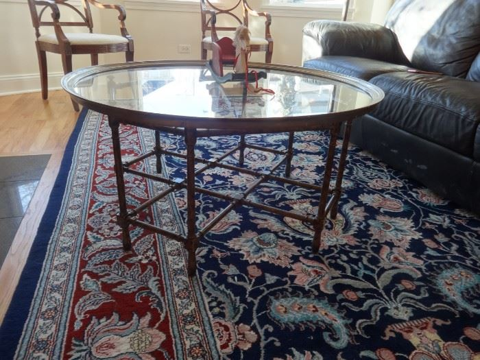 """Oriental rug, very good condition needs cleaning. Size:  8'10"""" x 12'9"""" including fringe. I think it is silk. No pad."""