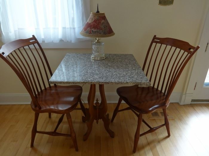 """Granite top measures 2'4"""" x 2'3"""" - it is not attached to the base. Cut glass modern lamp is for sale, also."""