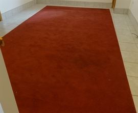 Nice quality cranberry wool rug, needs cleaning, otherwise good. 8' x 15'