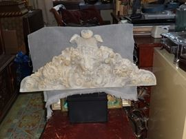Concrete Decorative Lion's Head Mantel Piece or Wall Hanging. Heavy.
