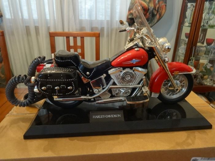 """Jumbo authentic Harley Davidson Heritage Softail Motorcycle Telephone - works well! Size 15"""" long & 10"""" tall."""
