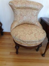 Tufted Wing Back Chair, Mahogany Frame