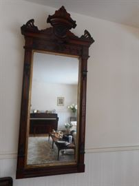 Antique GORGEOUS Chippendale Hand Carved Mahogany Wall Mirror