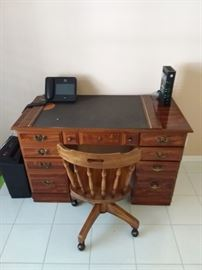 Desk and wood chair