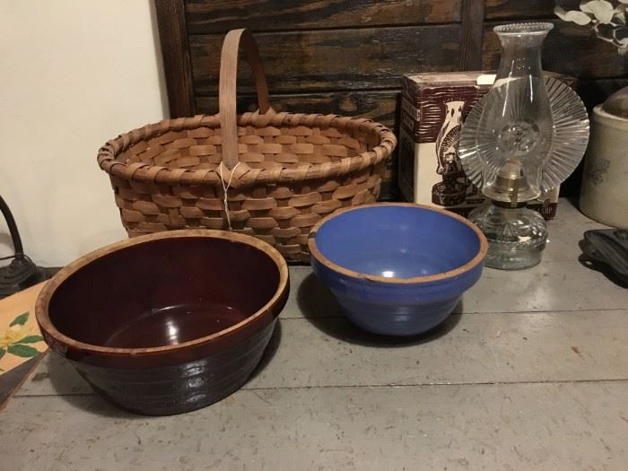 Antique Primitives and collectables - hand woven baskets & stoneware bowls, New Old Stock oil lamp